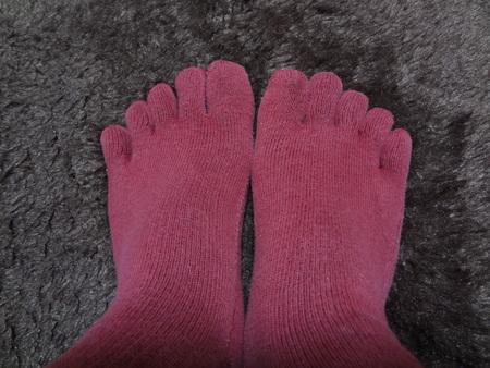 内絹外綿の絹木綿5本指靴下