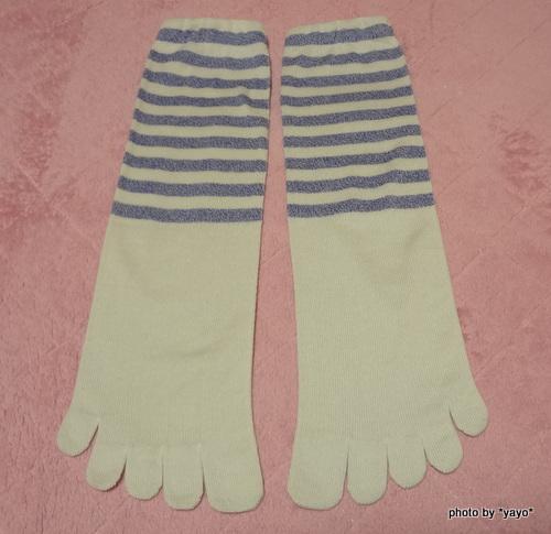 フェリシモ 裏シルク表綿の5本指靴下